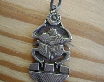 vintage sterling scarab pendant