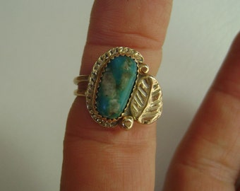 turquoise and 14k gold ring, size 5 and 1/2