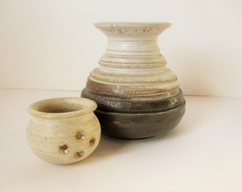 1960s Hand-thrown Pots - Light Cream to Buff to Deep Grey Brown - Art Pottery - Ceramic Pots - Hippies - Flower Holes - Texture and Style