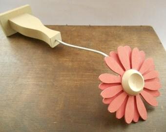 Swedish Vintage hand carved wooden flower Pink wood flower in vase Home Garden decor Wooden flower