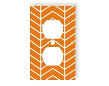 Chevron Pattern Outlet Cover, Zig Zag Wall Decor, Geometric Wall Decor,Orange and White, Gender Neutral Nursery Decor, Bedroom Wall Decor