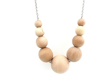Graduated wood bead necklace, natural jewelry, mom necklace, boho necklace