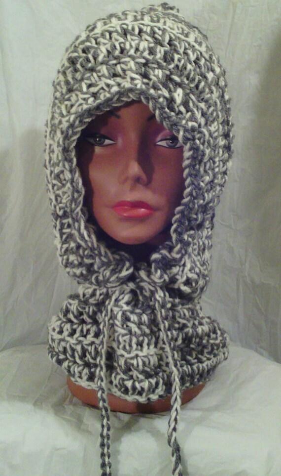 Crochet hooded cowl crochet neck warmer crochet hooded scaf grey