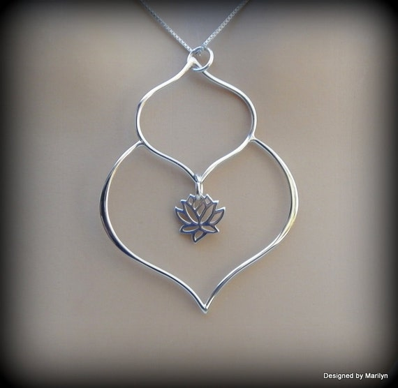 Sterling silver lotus petal necklace, lotus flower necklace, yoga jewelry, religious jewelry