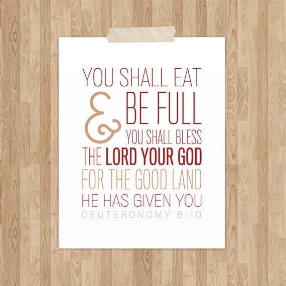 Bible Verse Art Deuteronomy 8 10 Scripture By Notbysightdesign