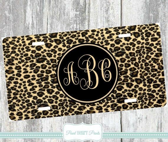 LEOPARD PRINT LICENSE Plate Animal Print Car By