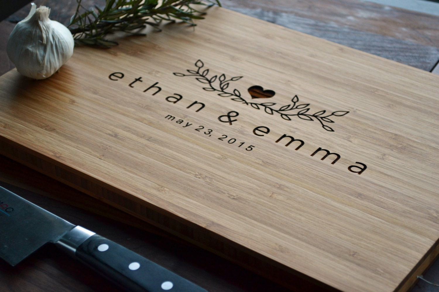 Personalized Cutting Board Engraved Bamboo Wood For Wedding