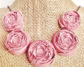 Dusty Rose Rosette Necklace