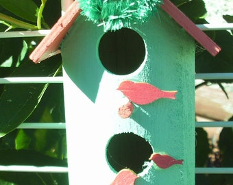 Double Story Round Bird House Ornament Coral Roof/Mint Green House (28)