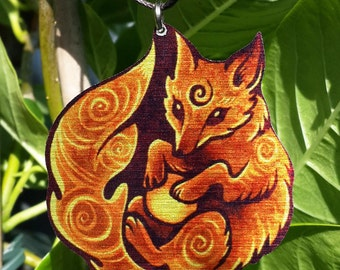 Mystic Tribal Spiritual Fox Totem Spiral Orange Fire Blue Ice Metal Necklace Pendant