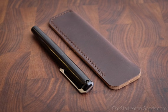 Pen Sleeve size large - hand stitched Horween Chromexcel leather - brown