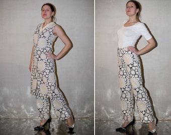 Vintage 60s Vest and Pants Set / creme white black flower long vest and pant suit/ S small