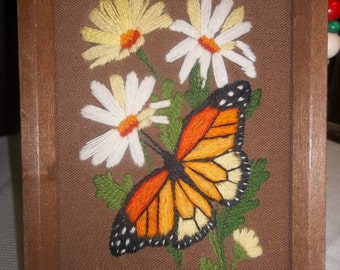 SALE! was 8.00 Vintage Framed 1970's Embroidered Butterfly and Daisies, S