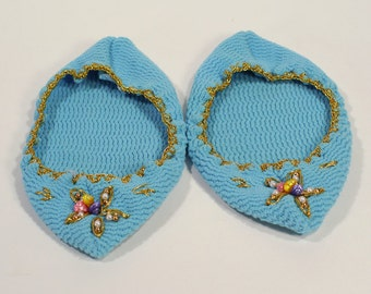 Vintage Women's Blue Hand Crocheted Slippers Footies with Seashell & Gold Embellishments - Size 6 to 7.5