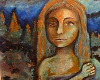 Original oil painting, surreal portrait of a girl