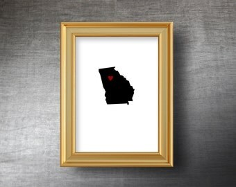 Georgia Map Art 5x7 - UNFRAMED Die Cut Silhouette - Georgia Print - Georgia Wedding - Personalized Text Optional