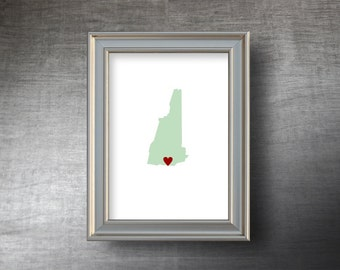 New Hampshire Map Art 5x7 - 4 Color Choices - UNFRAMED Die Cut Silhouette - New Hampshire Print - Personalized Text Optional