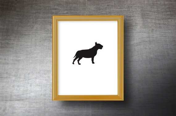 English Bull Terrier Silhouette Art 8x10 - UNFRAMED Hand Cut Bull Terrier Print - Personalized Name or Text Optional