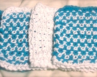 Bright Blue and White Hand Knit Coaster Set