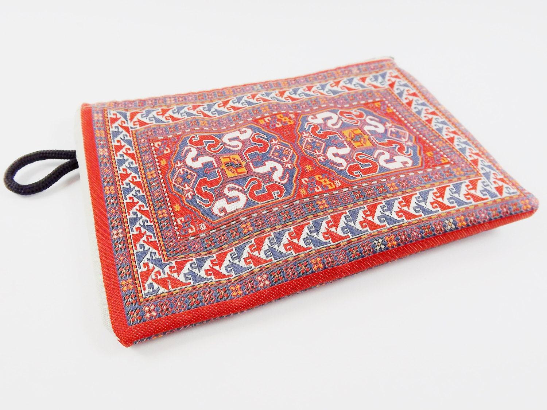 Exotic Rug Carpet Bag Purse Orange Red White Blue