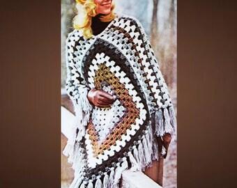 CROCHET Poncho PATTERN - Vintage Pattern - PDF Instant Download - Coat Jacket - 1970 Afghan Granny Squares - Wrap Cloak - Fringe Jacket