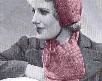 Vintage Knitting Pattern - Pixie Hat Hood Cap and Scarf  - Vintage Pattern - PDF Instant Download - Digital Pattern - Gnome Hat - Hood Hat