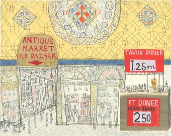 ISTANBUL PAINTING, Grand Bazaar Art, Original Mixed Media, Turkish Watercolor, Pencil Drawing Collage, Turkey Artwork Market Clare Caulfield
