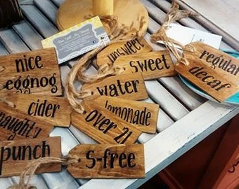 Set of Five Wooden Beverage Tags.  Great for Parties, Hand Painted, Stained & Sealed.  Great Gift and Even Better Price