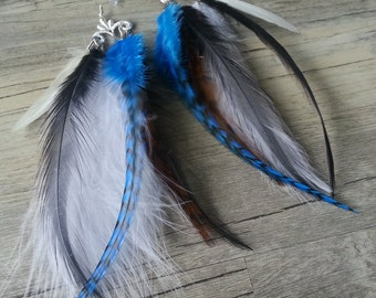 Turquoise & Silver Feather Earrings