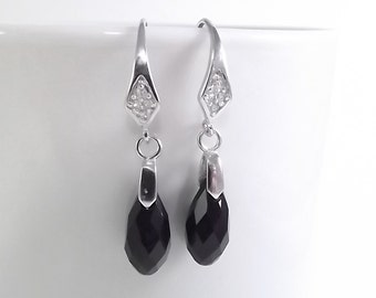 Jet Black Austrian Crystal Pendant Briolette Sterling Silver Earrings