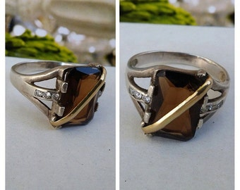 vintage 950 sterling silver, 18k gold,topaz and clear rhinestones unisex ring from colombia south America