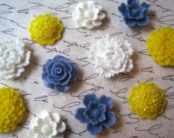 Fridge Magnets, 12 pc Flower Magnets, Blue, Yellow, White, Locker Magnets, Housewarming Gifts, Hostess Gifts, Wedding Favors