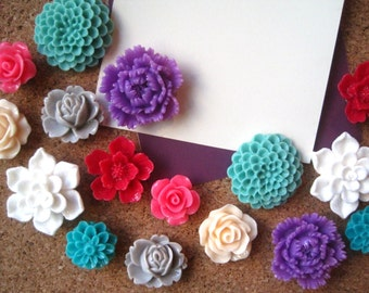 Pretty Thumbtacks, 16 Flower Pushpins, Mixed Colors, Office Supply, Bulletin Board Thumbtacks, Wedding Decor, Housewarming Gift