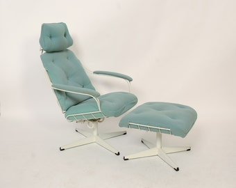 Wire Lounge Chair and Ottoman Possibly Homecrest Mid Century Modern 70s