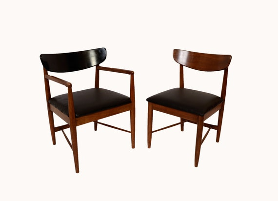 Walnut Dining Chairs American Of Martinsville Mid Century