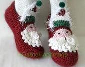 Christmas Santa  Adult Chunky Crochet Slippers  Men Children Teens Funny Wool  Red White