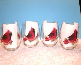 stemless CARDINAL WINE GLASSES, set of four