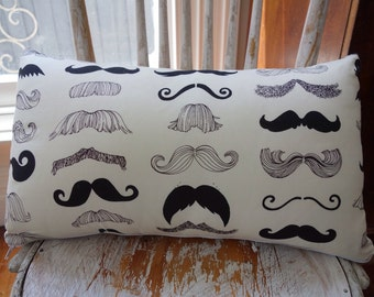 Alexander Henry Where's my stache? Hipster Moustache Cushion 30cm x 60cm with Ticking backing
