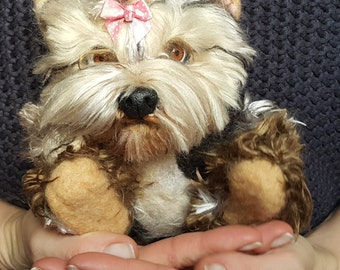 Pet Portrait, Needle felted yorkie MADE TO ORDER