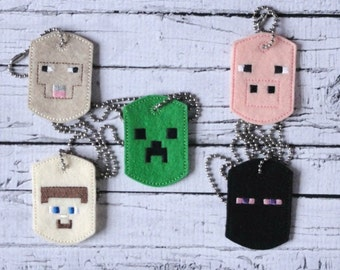 Minecraft Inspired Necklace - Block People Necklace - Ender Necklace - Creeper Necklace - Steve Necklace - Pig Necklace - Sheep Necklace
