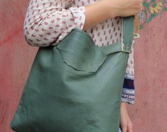 Grey/Green Leather Sm.Tote Raw Seam, Handmade Soft Leather Bag, Leather Purse Bag,Womens Purse.