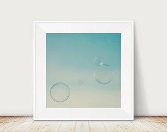 bubble photograph mint decor nursery wall art bathroom photo abstract bokeh rainbow bubble teal home decor