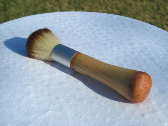 Spalted Maple Makeup Brush with Cherry Burl Cap