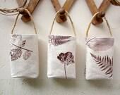 Fabric baskets, Handprinted fabric, wall hanging, Organizers, Plants, Set of 3