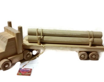 Wooden Log Truck 18 Wheel Toy