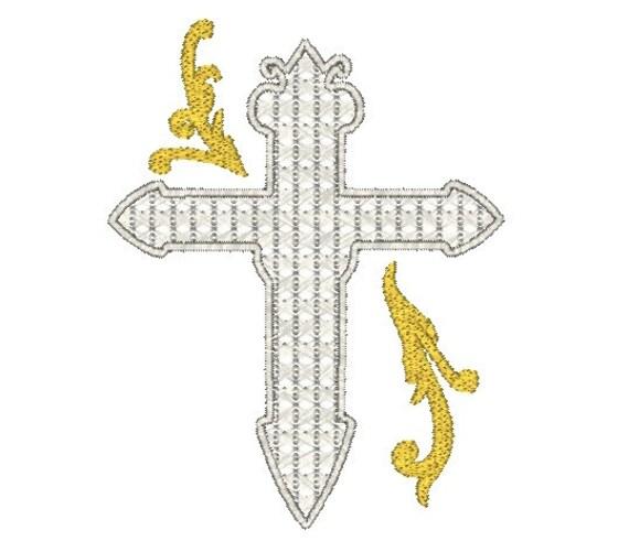 Ornate cross machine embroidery design