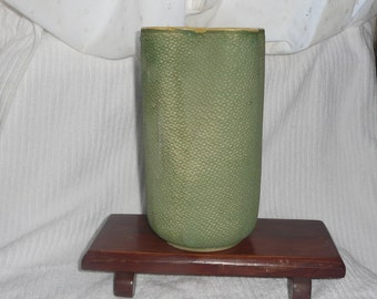 Vintage Shawnee U.S.A. Large Green and Yellow Vase