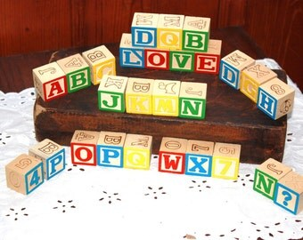 Vintage Wooden Toy Learning Blocks