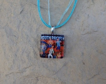Broadway Musical South Pacific Glass Pendant and Ribbon Necklace