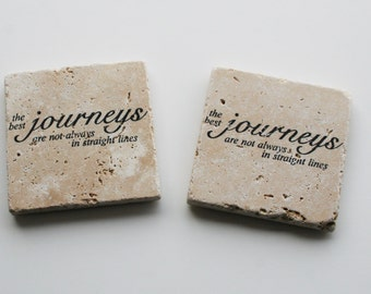 Journey saying, Rustic Stone Coaster, Travertine Tile coaster, Tumbled stone tile, Stocking stuffer,